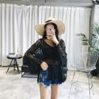 Long-sleeve Lace Knit Top
