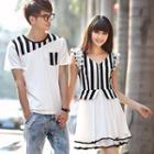 Couple Striped Panel T-shirt / Sleeveless Dress