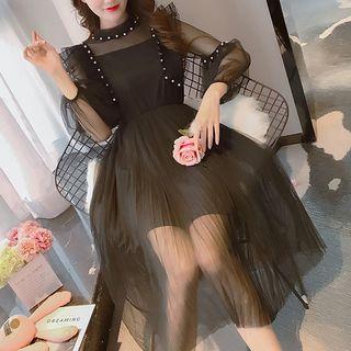 Faux Pearl Long-sleeve A-line Mesh Dress