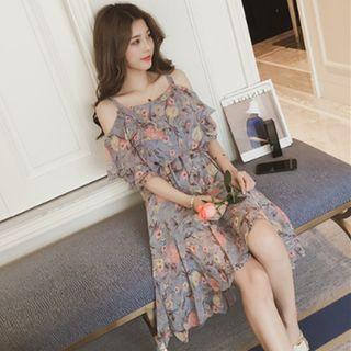 Flower Print Off-shoulder A-line Dress