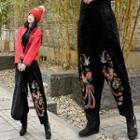 Embroidered Harem Pants Black - One Size