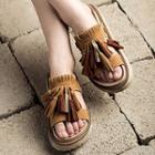 Tasseled Platform Slide Sandals