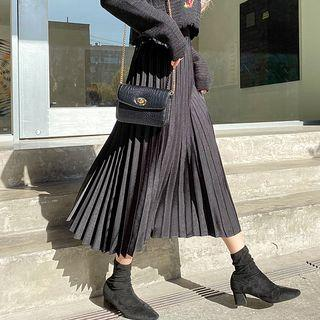 Satin Long Accordion-pleated Skirt