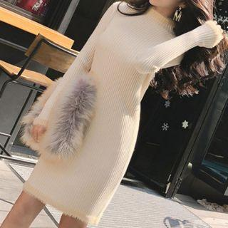 Mock Neck Long-sleeve Knit Sheath Dress Almond - One Size
