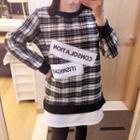 Letter Embroidered Plaid Pullover