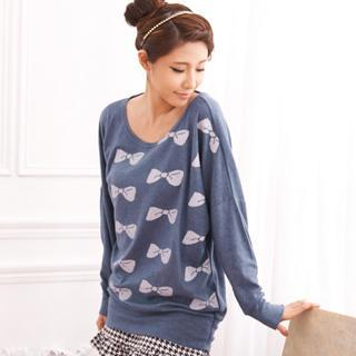 Bow-print Boatneck Top