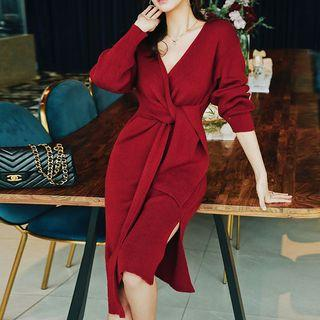 Tie Waist Long-sleeve Knitted Sheath Dress