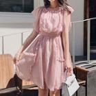 Short-sleeve Ruffled Chiffon A-line Dress