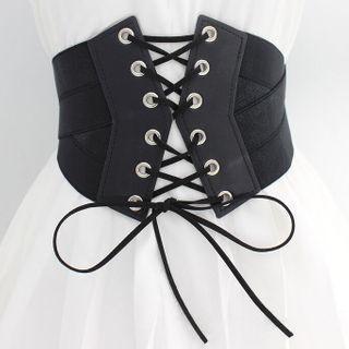 Lace Up Waist Belt Black - One Size