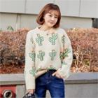 Crew-neck Cactus-patterned Sweater