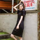 Short-sleeve Hooded Pullover Dress