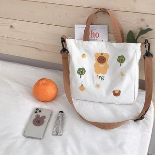 Bear Embroidered Crossbody Bag White - One Size