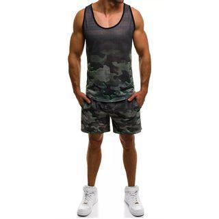 Set: Camo Tank Top + Camo Shorts
