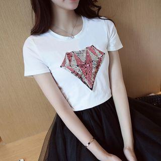 Sequined Loose-fit Round-neck Short-sleeve Top