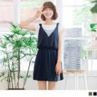 Contrast V-neck Pinafore Dress