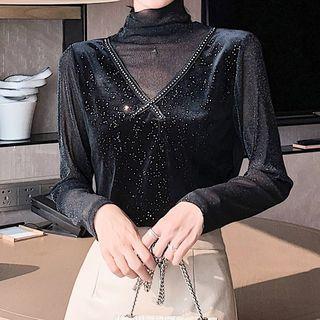 Long-sleeve Mock-neck Paneled Glitter Top