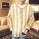 Long-sleeve Hooded Stripe Top