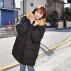 Fuax-fur Hooded Puffer Coat