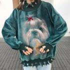 Ripped Dog Print Pullover