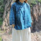 3/4-sleeve  Frog-buttoned Printed Top Blue - One Size