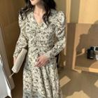 Shirred-sleeve Floral Print Midi Chiffon Dress
