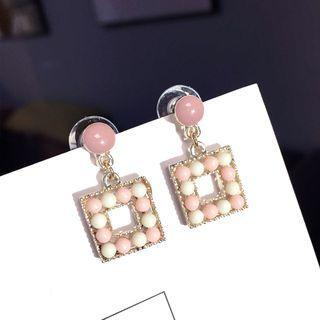 Bead Square Dangle Earring