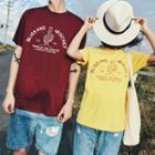 Couple Matching Short-sleeve Cactus Print T-shirt