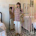 Striped Vest / Corduroy Pants / Plaid Shirt