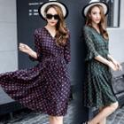 Bell-sleeve Dotted Dress