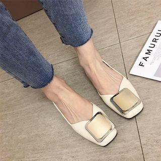 Faux-leather Square Buckled Flats