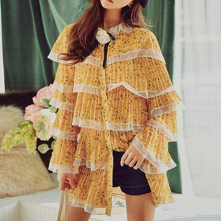 Lace Trim Floral Long-sleeve Dress