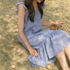 Sleeveless Ruffle-trim Check Dress