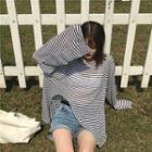 Striped Slit Long-sleeve T-shirt