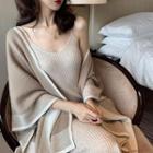 Color-block Shawl / Plain Sleeveless Knit Dress