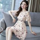 Short-sleeve Cold-shoulder Floral Print Mini A-line Dress