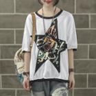 Star Applique Elbow-sleeve T-shirt