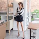 Set: Patterned Blouse + Lace-up Mini Skirt