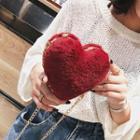 Faux Fur Heart Crossbody Bag