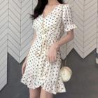 Polka Dot Short-sleeve A-line Mini Dress