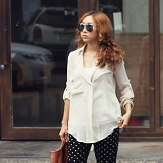 Tab-sleeve Sheer Shirt