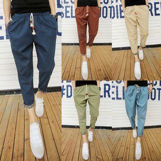 Drawstring Slim-fit Roll Up Pants