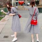 Long-sleeved Gingham Dress