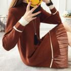 Mock Two-piece Mock-turtleneck Knit Dress