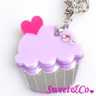 Sweet&co Mini Purple Cupcake Crystal Silver Necklace Silver - One Size