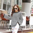 Long-sleeve Contrast-trim Stripe T-shirt
