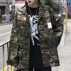 Camo Applique Zip Jacket