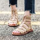 Genuine-leather Lace-up Flat Sandals