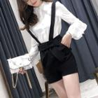 Ruffle Trim Blouse / Bow Accent Suspender Shorts