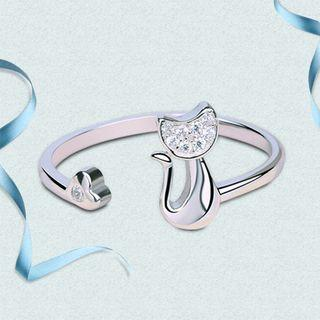 925 Sterling Silver Rhinestone Cat Open Ring Silver - One Size