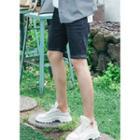 Band-waist Stitched Denim Shorts
